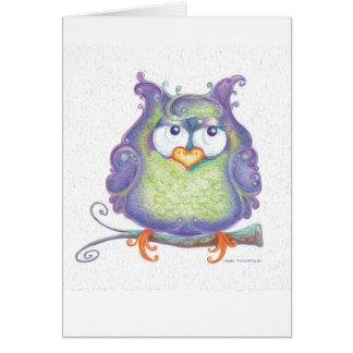 Cartão roxo da coruja
