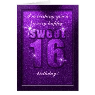 Cartão roxo da festa de aniversário do doce 16 do