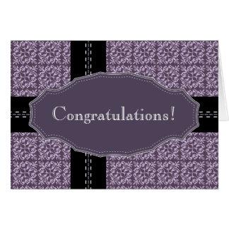 Cartão roxo das felicitações do ponto do damasco