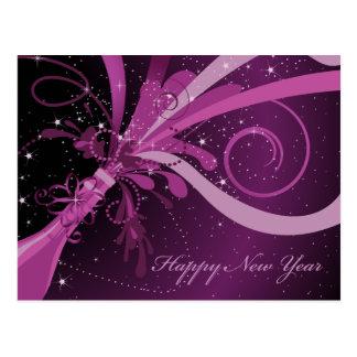 Cartão roxo de Champagne do feliz ano novo