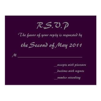 Cartão roxo de RSVP Cartoes Postais