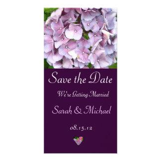 Cartão roxo do anúncio do casamento do Hydrangea Cartão Com Foto