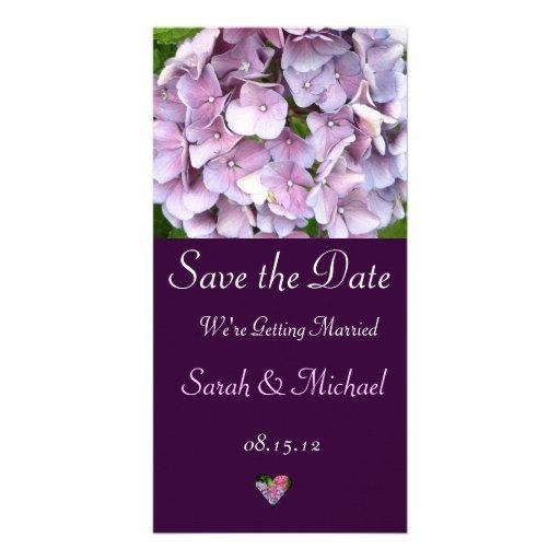 Cartão roxo do anúncio do casamento do Hydrangea Cartao Com Fotos Personalizado