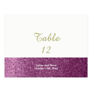 Cartão roxo do assento da mesa do brilho do falso
