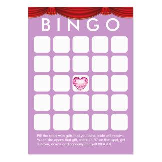 Cartão roxo do Bingo do chá de panela do coração Cartão De Visita Grande