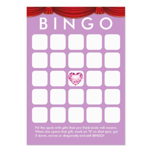Cartão roxo do Bingo do chá de panela do coração d Cartões De Visitas