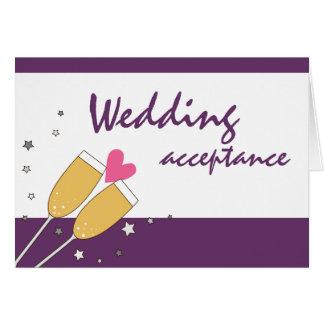Cartão Roxo do brinde de Champagne da aceitação do