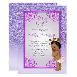 Cartão roxo do chá de fraldas do ouro do