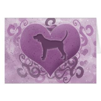Cartão roxo do dia dos namorados do Coonhound de