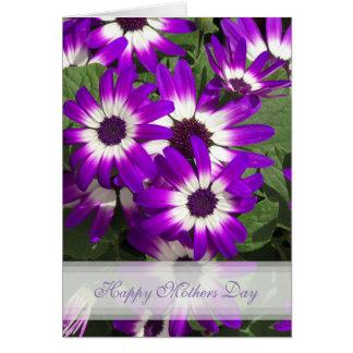 Cartão roxo do feliz dia das mães da flor