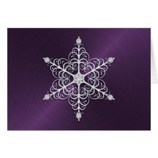 Cartão roxo do floco de neve do brilho
