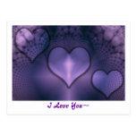 Cartão roxo do interno dos corações do Fractal Cartoes Postais