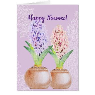 Cartão Roxo do jacinto de Norooz