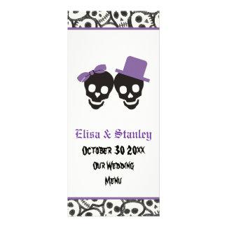 Cartão roxo do menu do casamento do Dia das Bruxas 10.16 X 22.86cm Panfleto