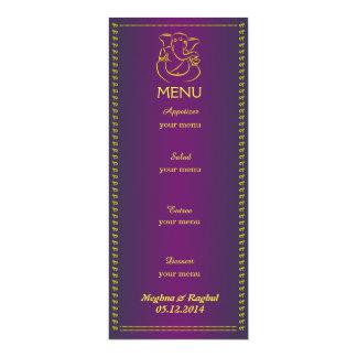 Cartão roxo do menu do casamento indiano elegante convite 10.16 x 23.49cm