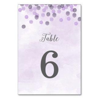 Cartão roxo do número da mesa do casamento dos
