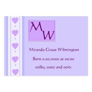 Cartão roxo doce do anúncio do nascimento do bebê cartão de visita grande