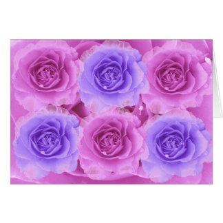 Cartão roxo e azul dos rosas