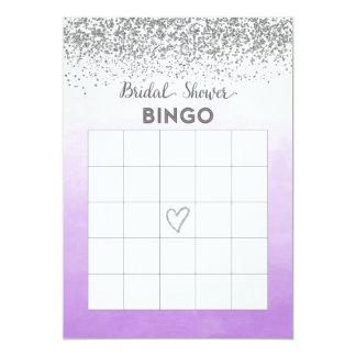 Cartão roxo e de prata do Bingo do chá de panela Convite 12.7 X 17.78cm