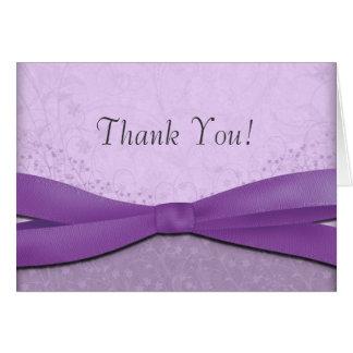 Cartão Roxo e obrigado floral do casamento da lavanda