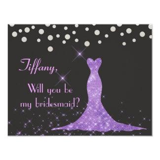 Cartão Roxo e prata você será minha dama de honra?
