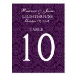 Cartão roxo elegante do número da mesa do casament cartao postal