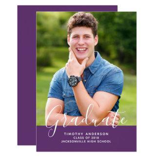 Cartão Roxo elegante simples do vertical   da graduação