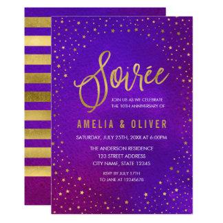Cartão Roxo estrelado algum aniversário da reunião do ano