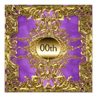 Cartão Roxo luxuoso do ouro alguma festa de aniversário