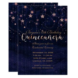 Cartão Roxo & ouro da noite estrelado de Quinceañera