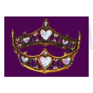 Cartão Roxo real da tiara da coroa do ouro amarelo dos