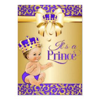 Cartão Roxo real do chá de fraldas & príncipe Coroa do