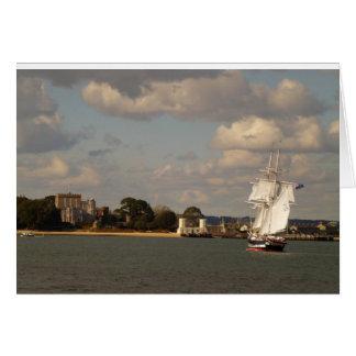 Cartão Royalist dos TS que entra no porto de Poole