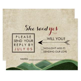 Cartão Rsvp de acampamento rústico do casamento
