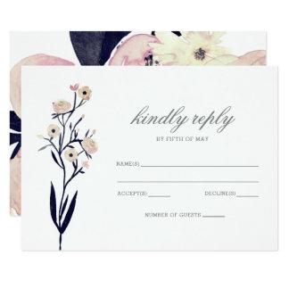 Cartão Rsvp floral cor-de-rosa azul & coral do casamento