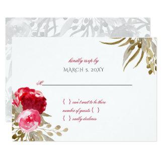 Cartão rsvp floral do casamento da aguarela bonito chique