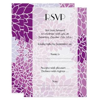 Cartão RSVP - Flores da dália, flores - azul roxo