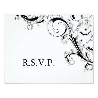 Cartão RSVP preto/branco do redemoinho filigrana