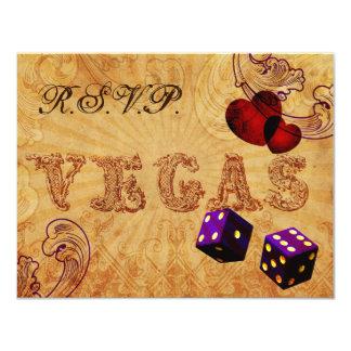 Cartão rsvp roxo do casamento de Vegas do vintage dos