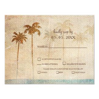 Cartão Rsvp rústico do casamento de praia das palmeiras