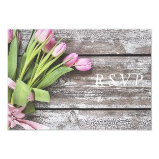 Cartão RSVP--Tulipas & madeira cor-de-rosa