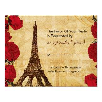 Cartão rsvp vermelho do casamento de Paris da torre