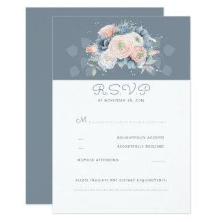 Cartão RSVP Wedding floral cor-de-rosa e azul pálido