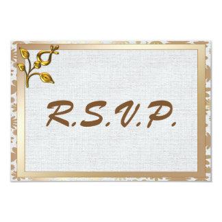 Cartão RSVP Wedding floral e de linho do ouro cor-de-rosa