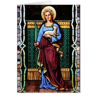 Cartão Rua Agnes de Roma, guardarando o cordeiro e a
