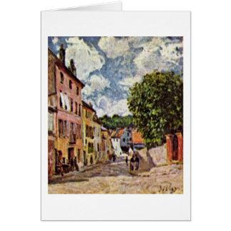 Cartão Rua no Moret-sur-Loing por Alfred Sisley