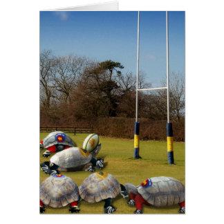 Cartão Rugby da tartaruga