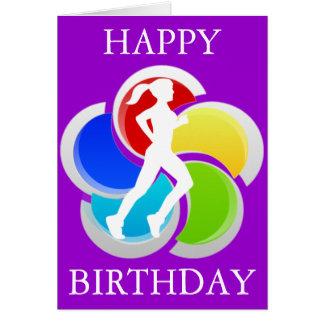 Cartão Running do feliz aniversario da menina
