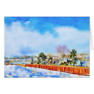 Cartão Russo da paisagem da aguarela do inverno do ano