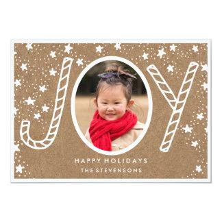 Cartão rústico alegre do feriado do bastão de convite 12.7 x 17.78cm